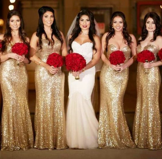 Shining Sweetheart SequinFull Length Long Bridesmaid Dresses,Wedding Party Dresses,WGY0190