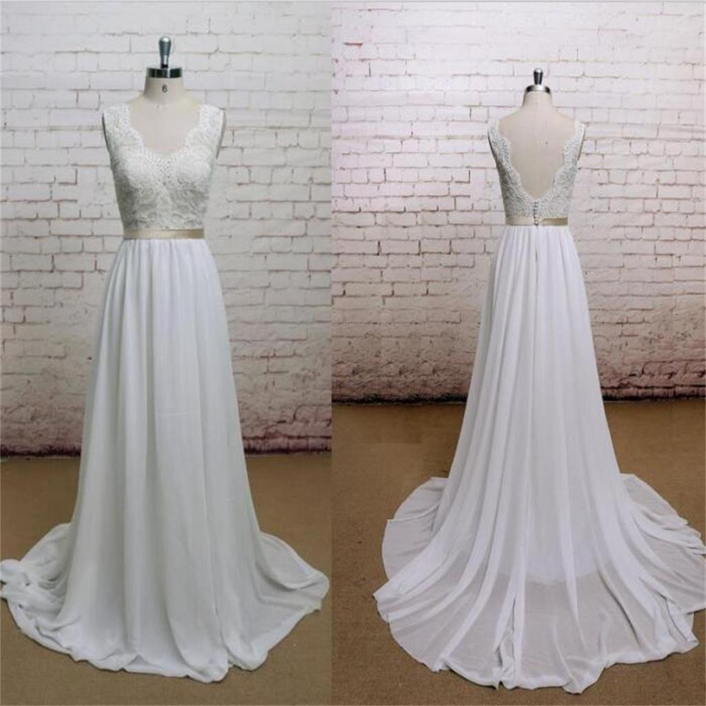 A-line Chiffon With Lace Simple V-Neck Free Custom Handmade Wedding Dresses, WDY0105