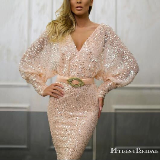 Long Sleeves V-neck Sexy Backless Champagne Sequin Long Cheap Formal Evening Prom Dresses, TYP0125