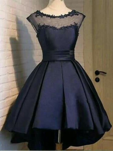 A-line Bateau Navy Blue Lace Homecoming Dress  ,Short Prom Dresses,BDY0352
