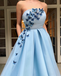 Gorgeous Newest Charming Strapless Sleeveless Sky Blue Appliqued A-line Long Cheap Prom Dresses, PDS0022
