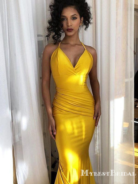 Sexy Mermaid Yellow Prom Dress Cheap Sexy Halter Sleeveless Long Cheap Formal Party Prom Dresses, PDS0053