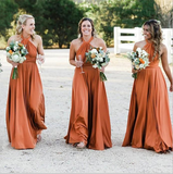 A-Line Halter Backless Floor-Length Orange Bridesmaid Dress,Cheap Bridesmaid Dresses,WGY0341
