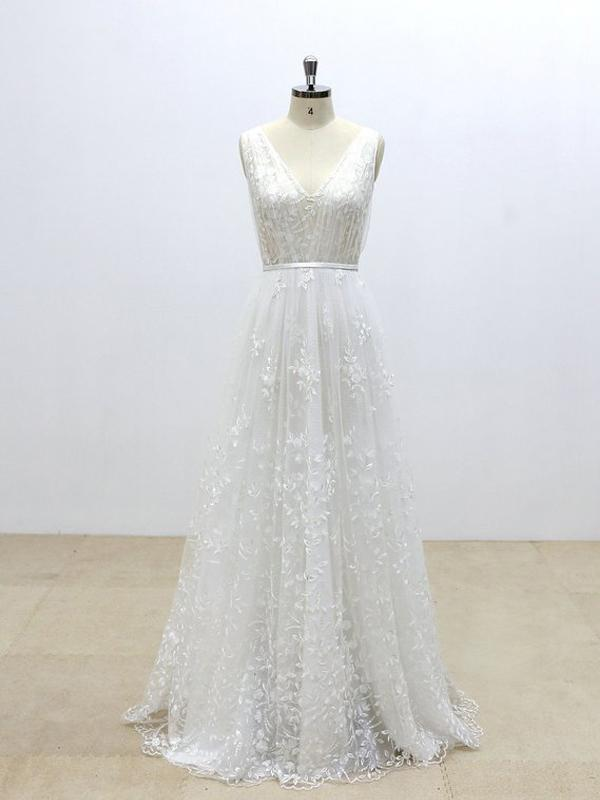 Simple V Neck Lace Cheap A-line Wedding Dresses Online, WDY0240