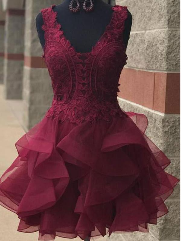 V Neck Burgundy Lace Short Cheap Homecoming Dresses Online, BDY0352