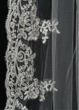 Gorgeous Tulle Long Wedding Veil With Lace Appliques,WV0129