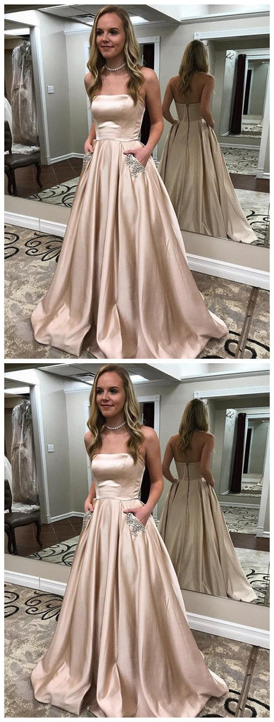A-line Strapless Long Gold Prom Dresses with Pocket ,Cheap Prom Dresses,PDY0423