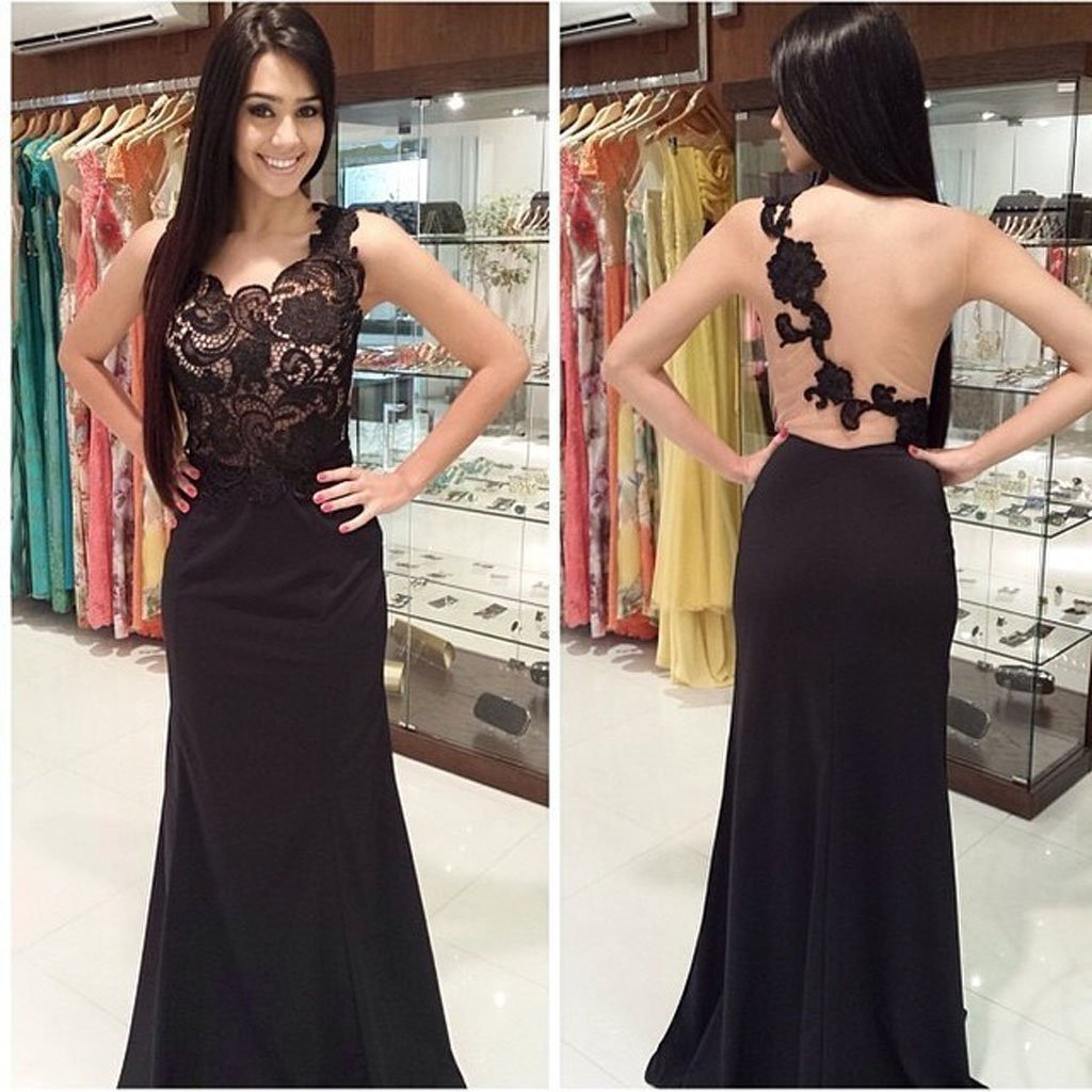 Sleeveless Lace Mermaid Black Long Prom Dress, Formal Evening Gowns,Evening Party Dresses,PDY0293
