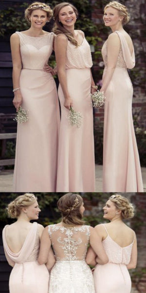 Fancy Sleeveless Pink Chiffon A-Line Cheap Bridesmaid Dresses With Beading,WGY0147