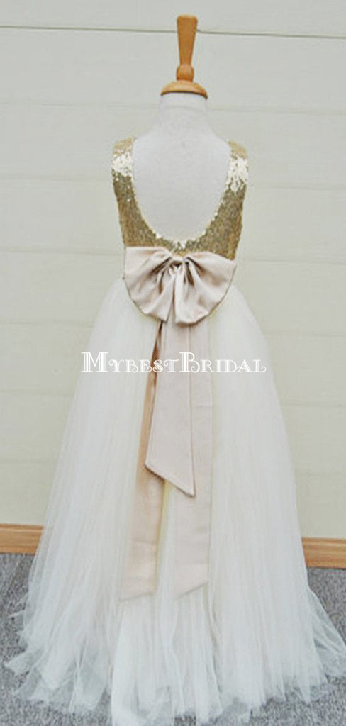 Gold Sequin Top White Tulle Cute Flower Girl Dresses For Wedding Party, FGY0123