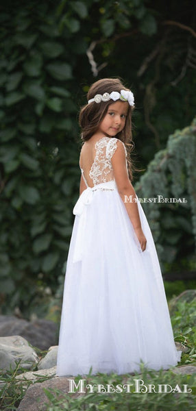Charming Round Neck Cap Sleeve Tulle Long A-line Cheap Flower Girl Dresses, FGS0014