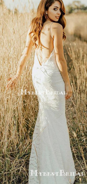 Spaghetti Strap Lace Mermaid BacklessLong Cheap Wedding Dresses, WDS0029