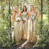 One Shoulder Sequin Bridesmaid Dresses, Shinning Gold Bridesmaid Dresses,Cheap Bridesmaid Dresses,WGY0265