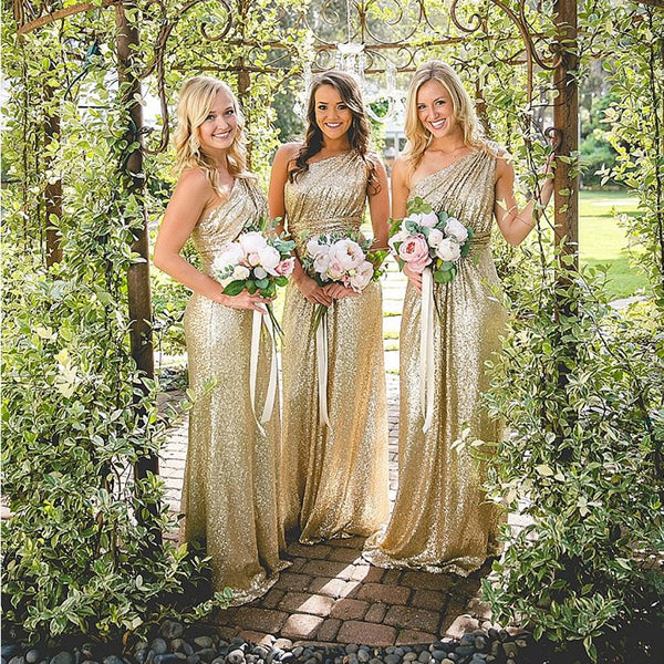 83194421be86 One Shoulder Sequin Bridesmaid Dresses, Shinning Gold Bridesmaid Dresses,Cheap  Bridesmaid Dresses,WGY0265
