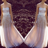 A-line Strapless Floor-length Sequin Prom Dress,Evening Dress ,Train Dresses,PDY0364