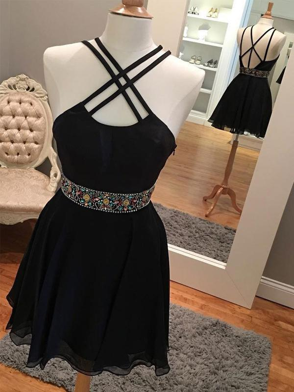 Sexy Backless Short Rhinestone Black Homecoming Dresses 2018, BDY0256