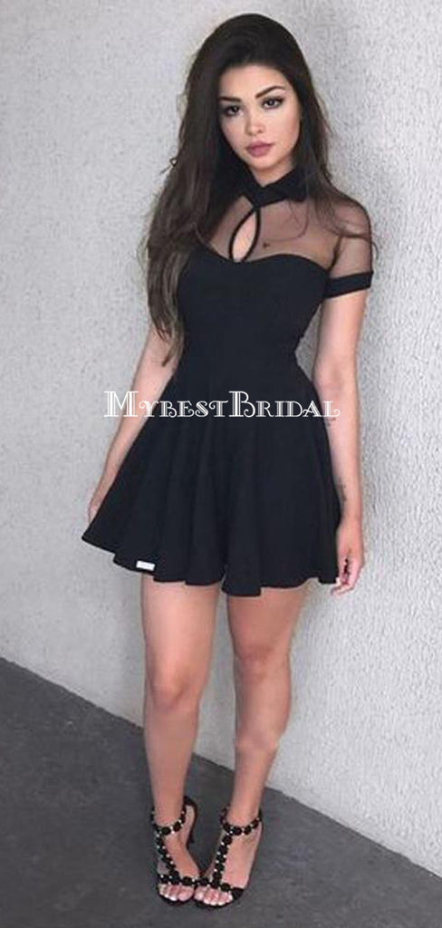 Short Sleeve High Neck Black A-line Short Homecoming Dresses, HDS0039
