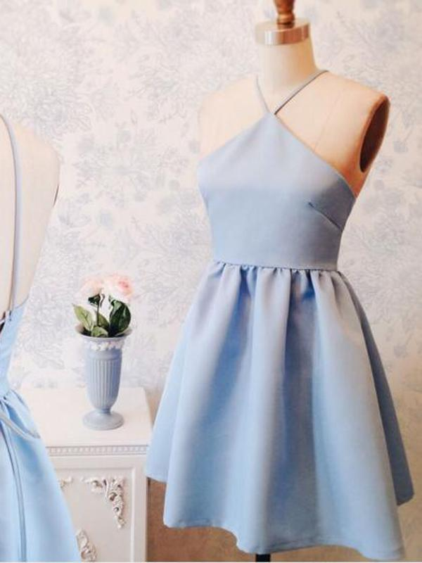 Halter Simple Cute Cheap Blue Homecoming Dresses 2018, BDY0204
