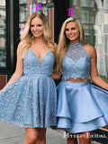 Elegant Lace Short Powder Blue Homecoming Dresses with Open Back, TYP0045