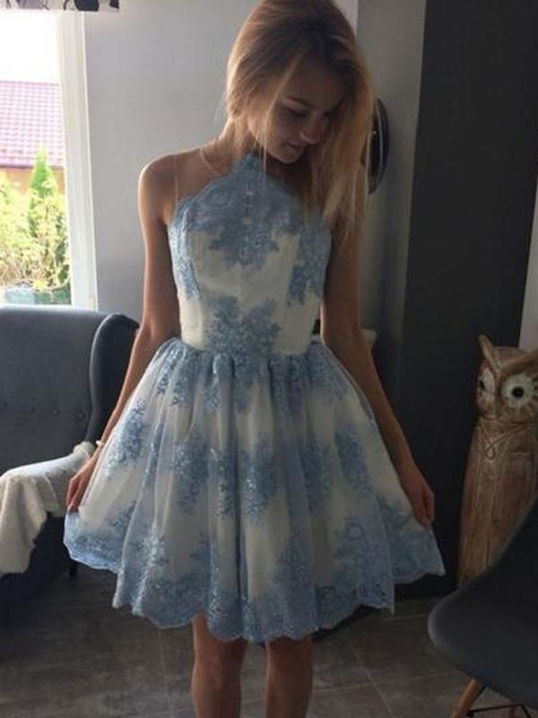 Blue Lace Scoop Neck See Through Cheap Homecoming Dresses 2018, BDY0210