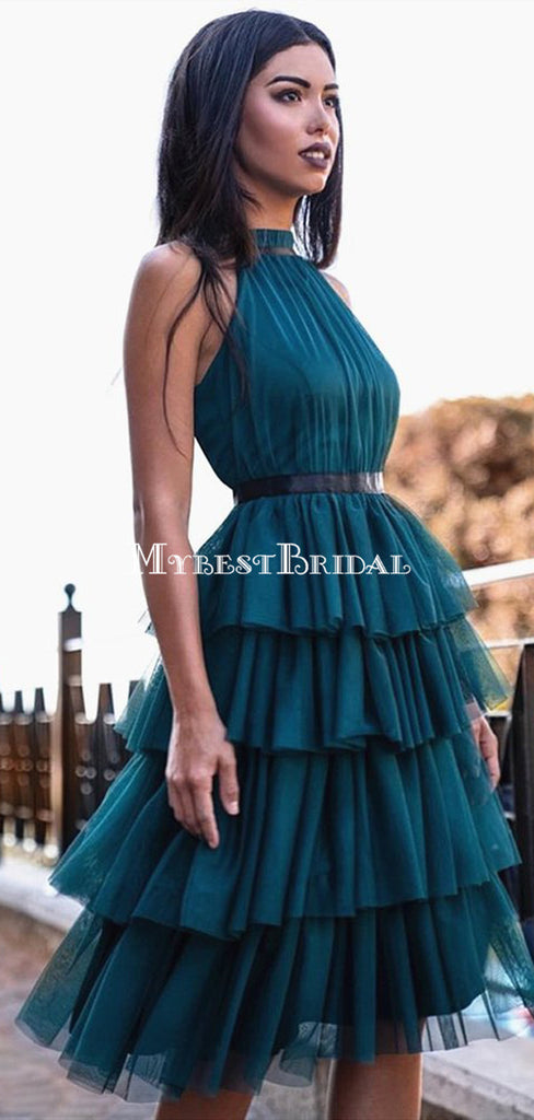 Charming Halter Blue Tulle Short Cheap Homecoming Dresses, HDS0036