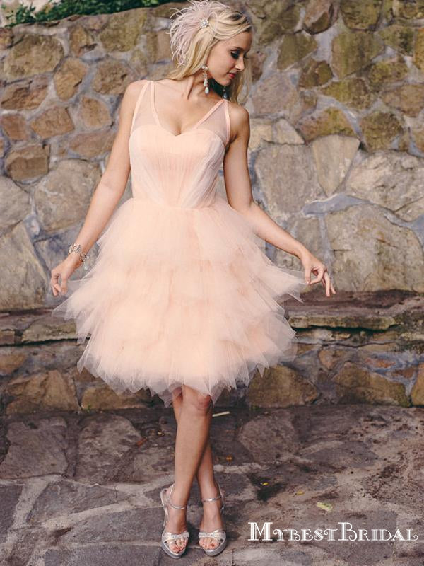 Cute A Line V Neck Backless Light Pink Tulle Short Cheap Homecoming Dresses, TYP0062