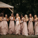 Sweetheart Sleeveless Charming A-line Pink Chiffon Floor-Length Long Cheap Bridesmaid Dresses, TYP0110