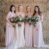 New Arrival Mismatched Pink Chiffon Long Cheap Wedding Party Dresses, Long Bridesmaid Dresses, BDS0007