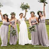 Charming New Arrival Sexy Spaghetti Strap Sleeveless Chiffon A-line Long Cheap Bridesmaid Dresses, BDS0008