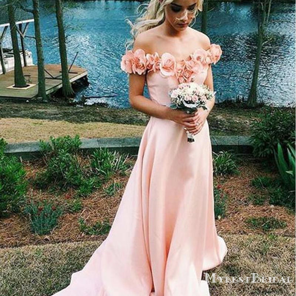 Charming Elegant Blush Pink Off Shoulder A-line Long Cheap Bridesmaid Dresses, TYP0080