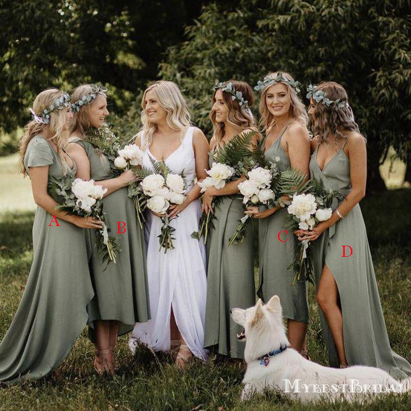 Mismatched Dusty Green Chiffon A-line Long Cheap Wedding Party Bridesmaid Dresses, BDS0014