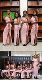 Pink One Shoulder Sleeveless Side Slit Long Bridesmaid Dresses With Ruched, TYP0006