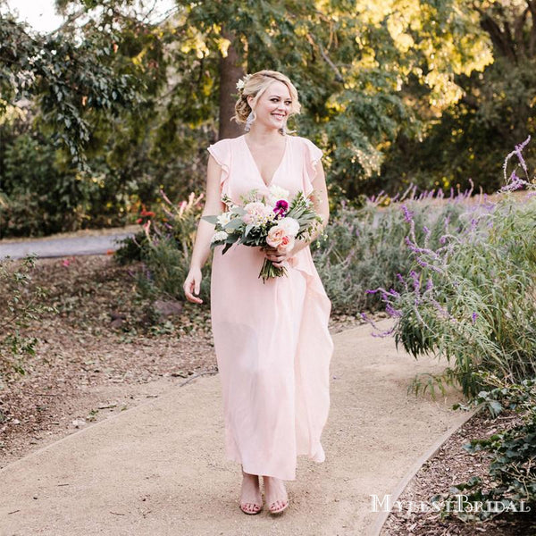 Simple Charming Pink V-neck Sleeveless Chiffon Long Cheap Bridesmaid Dresses, TYP0076