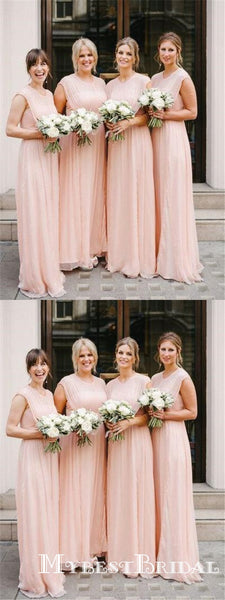 Blush Pink Cap Sleeves Scoop Neck A Line Chiffon Bridesmaid Dresses, TYP0010