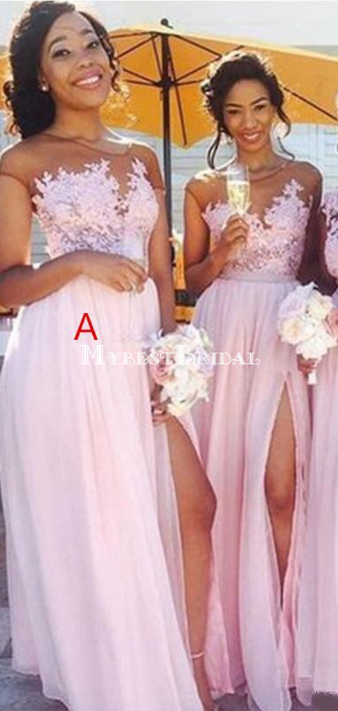 Cheap Lace Applique Pink Chiffon Slit Long Bridesmaid Dress,Cheap Bridesmaid Dresses,WGY0202