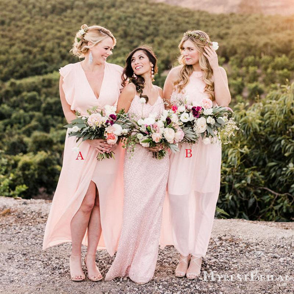 Mismatched Charming Pink Chiffon A-line Long Cheap Bridesmaid Dresses, BDS0065
