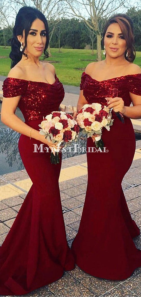 Off Shoulder Burgundy Long Mermaid Bridesmaid Dresses Online, WGY0299