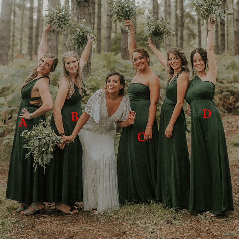 Mismatched Simple Green Jersey Long Cheap Bridesmaid Dresses, BDS0119