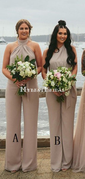 Sleeveless Halter Long Chiffon Bridesmaid Jumpsuit,Cheap Bridesmaid Dresses,WGY0348