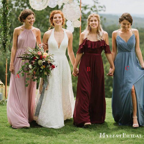 Mismatched Charming Chiffon A-line Long Cheap Bridesmaid Dresses, BDS0064