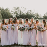 Charming Simple Pink Chiffon A-line Long Cheap Floor-Length Bridesmaid Dresses, BDS0037