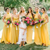 Mismatched Yellow Elastic Silk A-line Long Cheap Bridesmaid Dresses, BDS0086