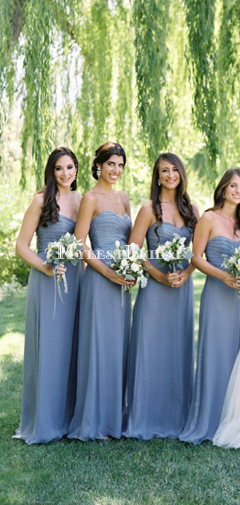 Long Sweetheart Strapless Dark Gray Wedding Party Dresses ,Bridesmaid Dresses,WGY0143