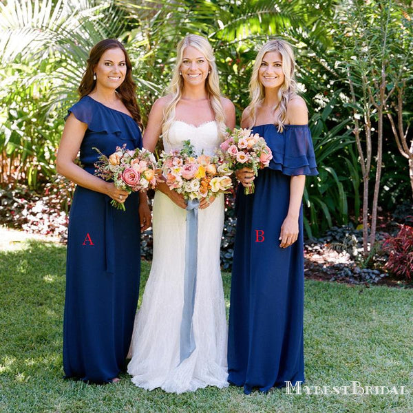 Mismatched Charming Royal Blue Chiffon A-line Long Cheap Bridesmaid Dresses, BDS0066
