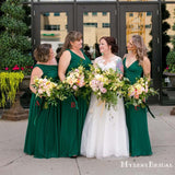 Mismatched Charming Green Chiffon A-line Long Cheap Bridesmaid Dresses, BDS0068