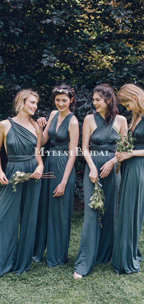 V-neck Backless Blue Bridesmaid Jumpsuit,Cheap Bridesmaid Dresses,WGY0349