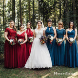Mismatched Red & Blue Chiffon A-line Long Cheap Bridesmaid Dresses, BDS0085