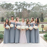 New Arrival Off-The-Shoulder Dusty Blue Tulle A-line Long Cheap Bridesmaid Dresses, BDS0069