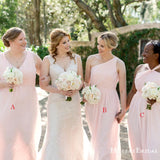 Mismatched Charming Simple Pink Chiffon A-line Long Cheap Bridesmaid Dresses, BDS0033