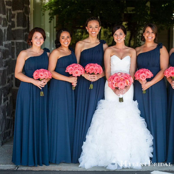 Charming One Shoulder Blue Chiffon A-line Long Cheap Wedding Bridesmaid Dresses, BDS0016